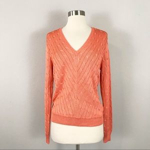 Ralph Lauren Black Label large Silk Cable Knit Sweater Orange